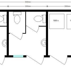 модульный туалет 6,0х2,4 м автономный раздельный