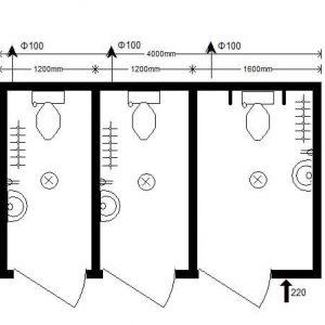 модульный туалет 4,0х2,4 м