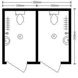модульный туалет 3,0х2,4 м