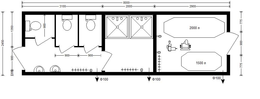 планировка автономного санитарного модуля