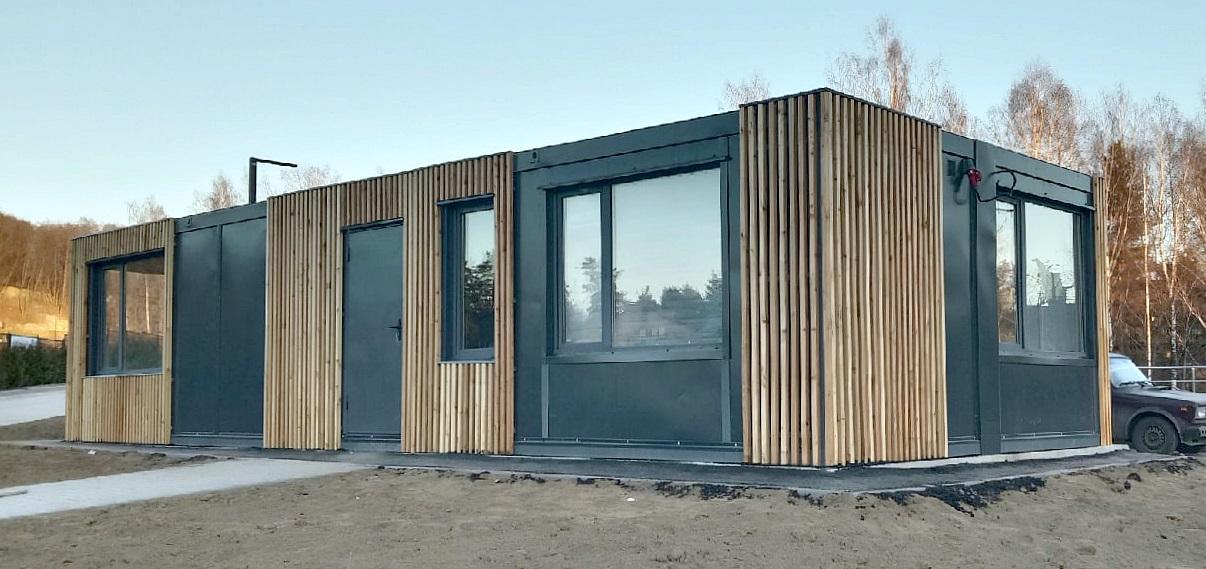 модульное здание обшитое деревом